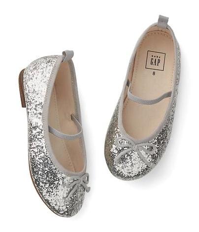Gap girls silver glitter mary janes