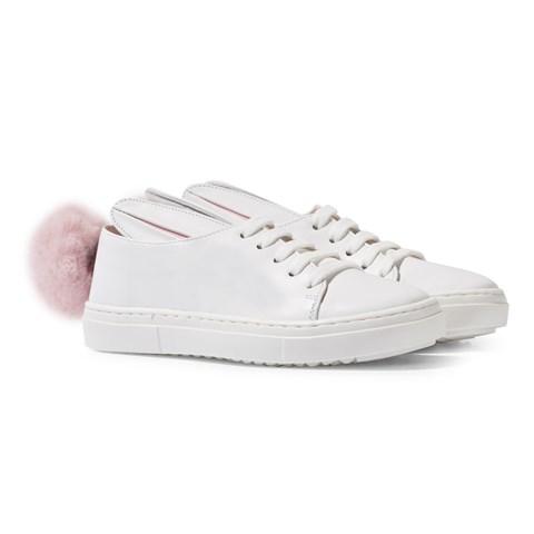 White girls bunny fur trainers