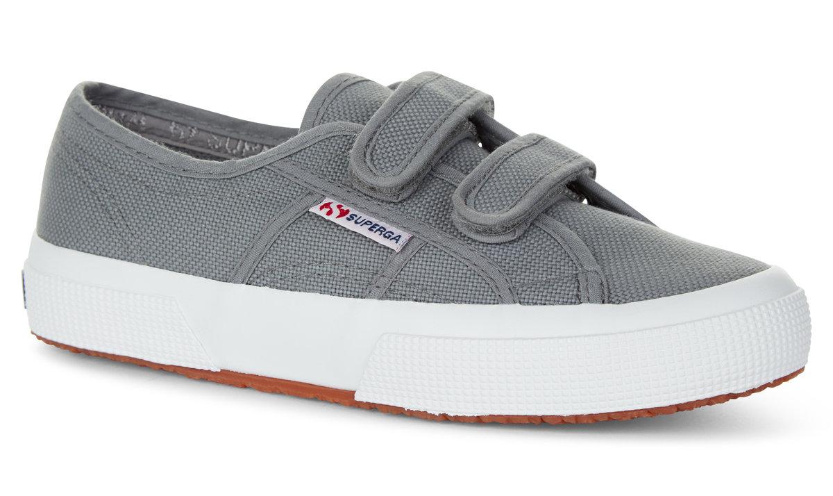 Grey velcro kids trainers