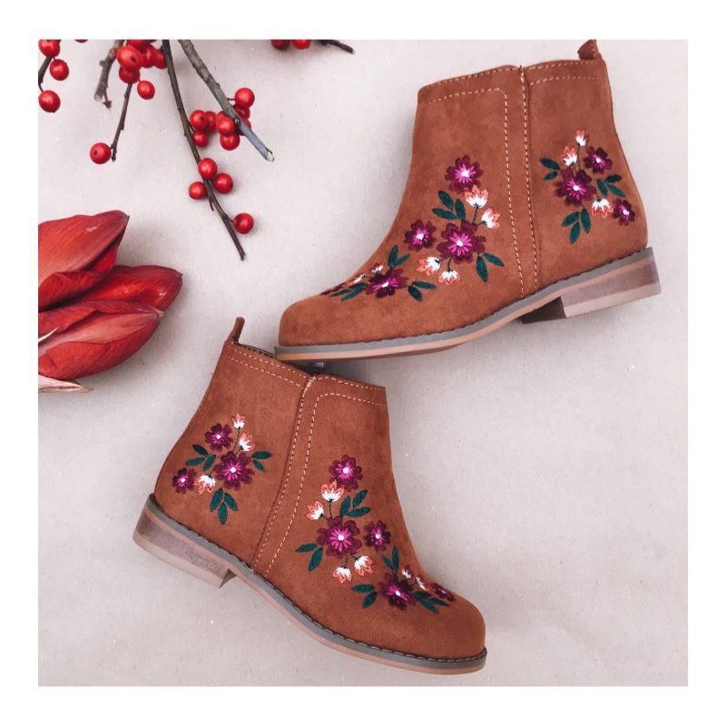 Kids embroidered tan boots