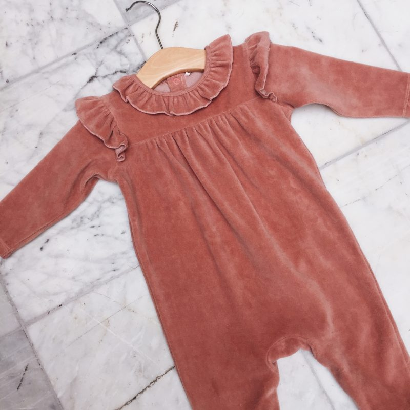 Baby Next pink frill velour sleepsuit