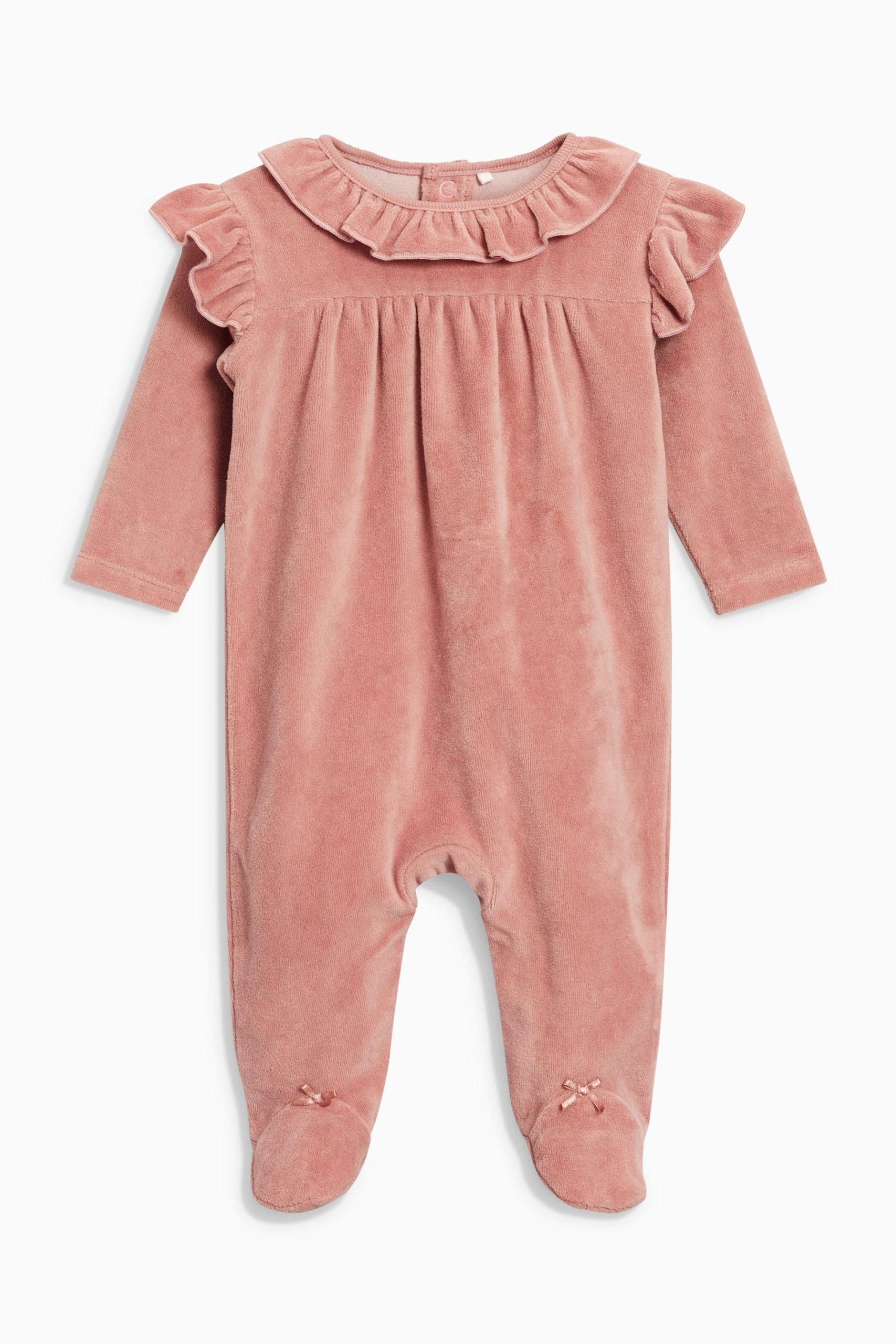 Pink frill velour sleepsuit
