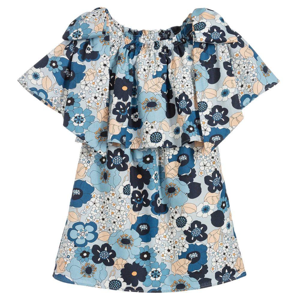 girls-blue-floral-print-dress
