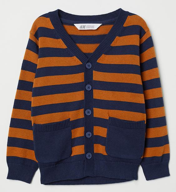 navy-and-orange-stripe-knit-cardigan
