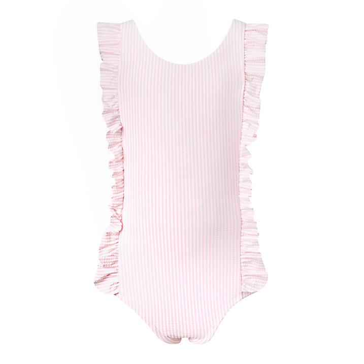 Girls ruffle striped swimsuit