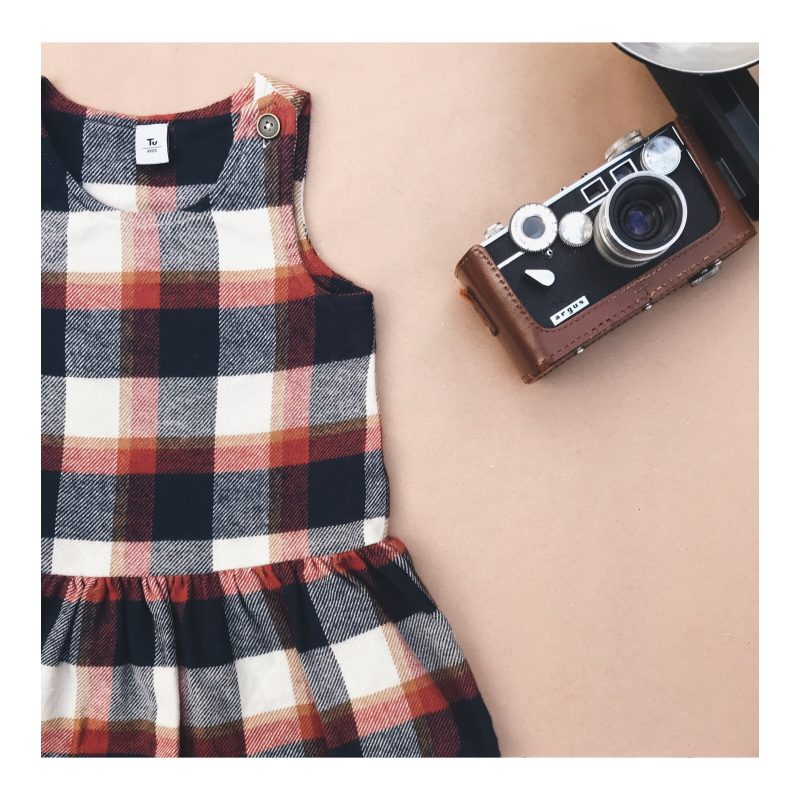 Girls check pinafore