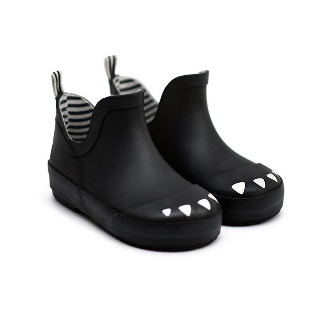 kids-black-dinosaur rain boots