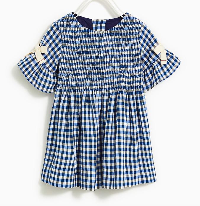 blue-check-bow-detail-dress