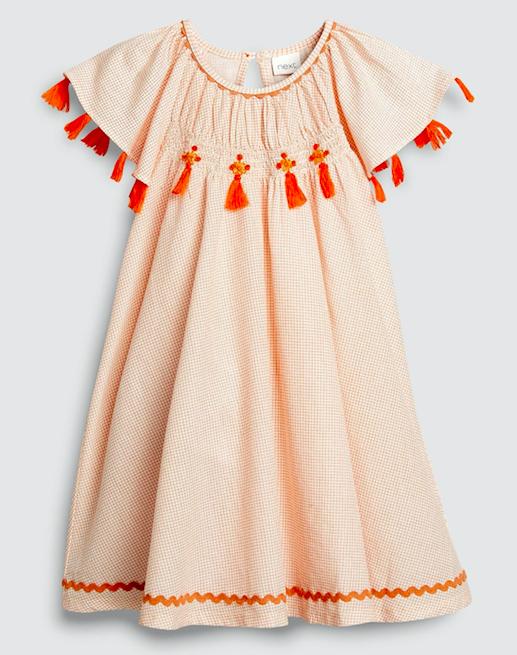 orange-check-tassel-dress