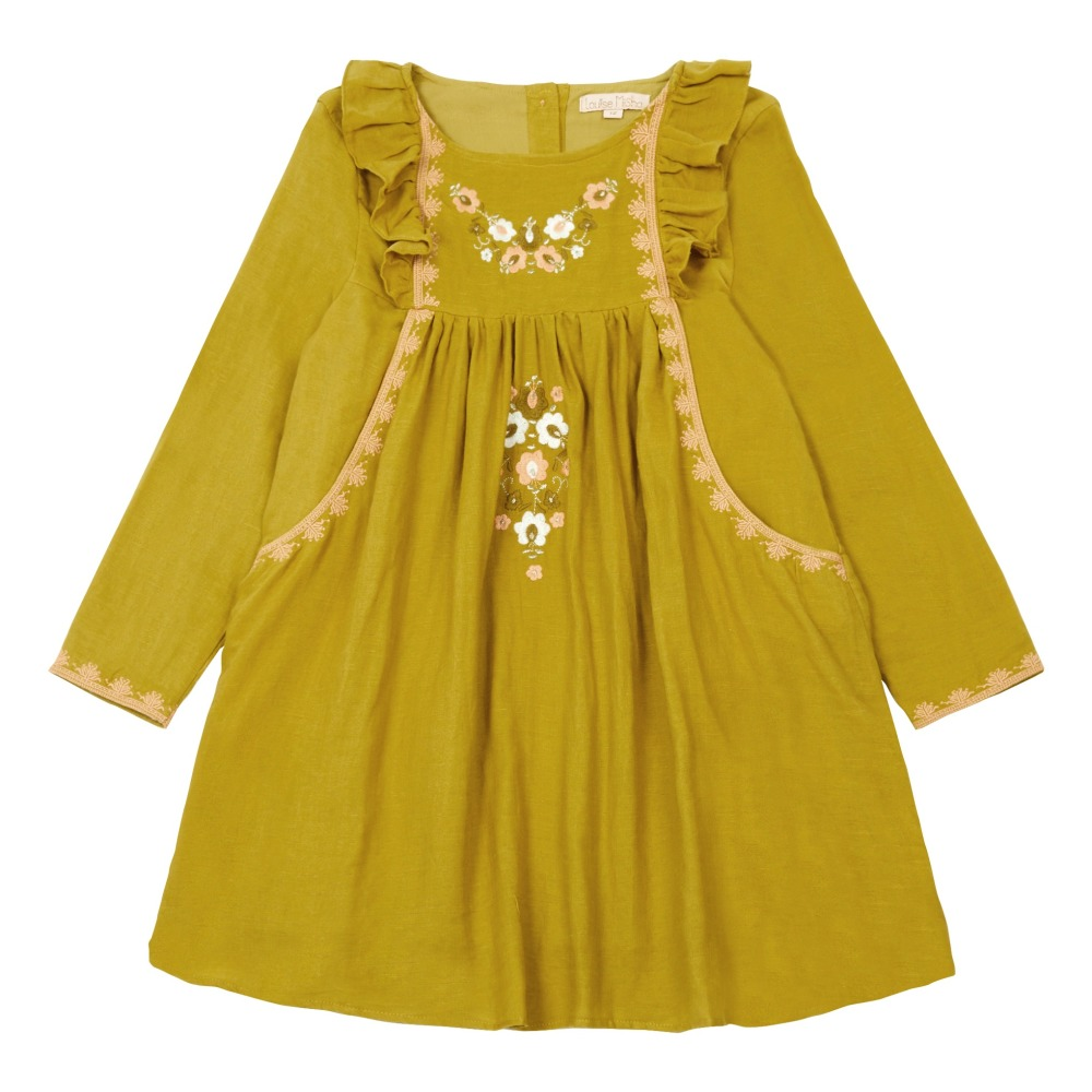 ochre-embroidered-frill-dress