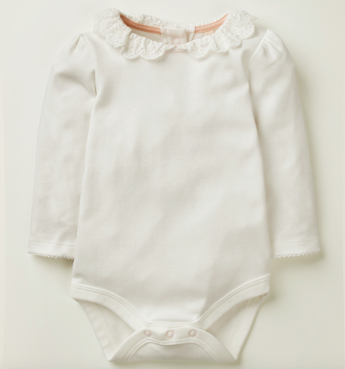Ivory broderie collared bodysuit