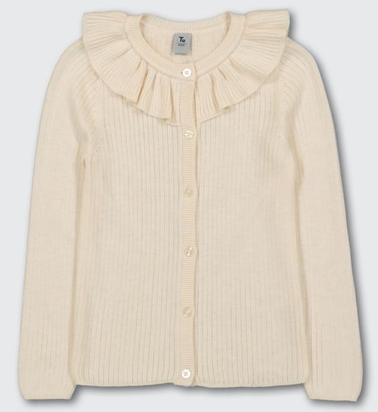 Cream ruffle collar cardigan