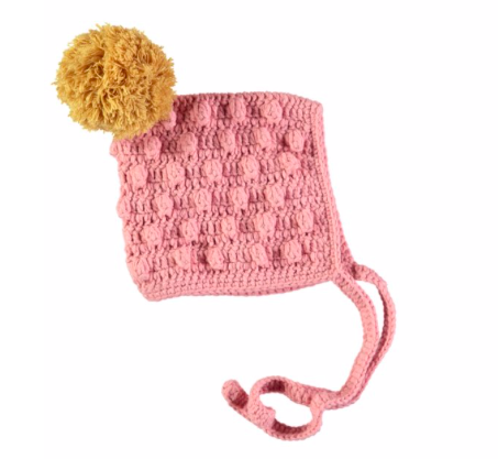 Knitted pompom bonnet