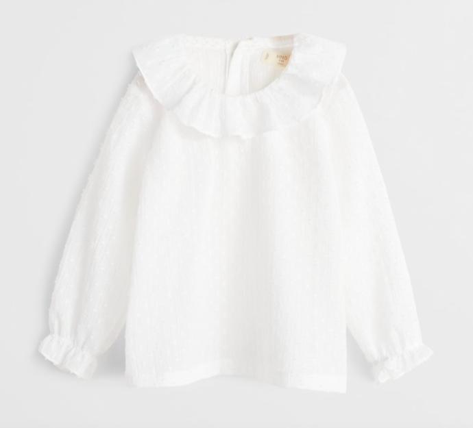 White ruffled plumeti blouse
