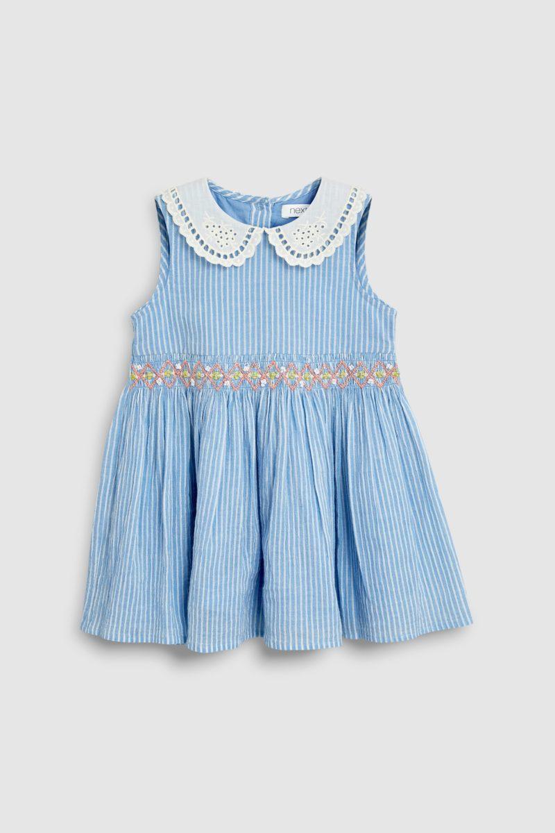blue-shirred-collar-dress
