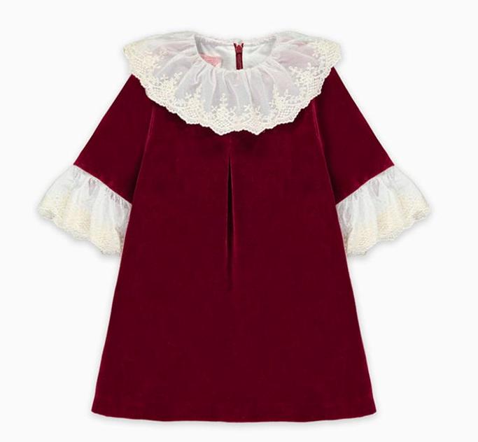 burgundy-velvet-collar-dress