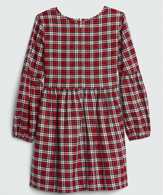 red-check-balloon-sleeve-dress