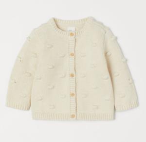 Cream knitted baby cardigan