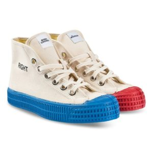 Left and right hi top trainers
