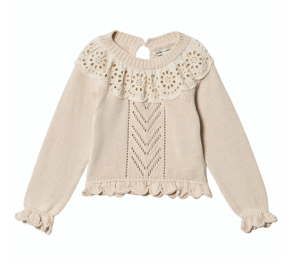 Natural lace collar knit jumper