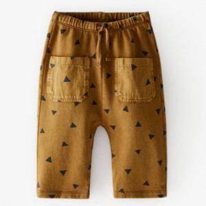 Brown kids printed trousers