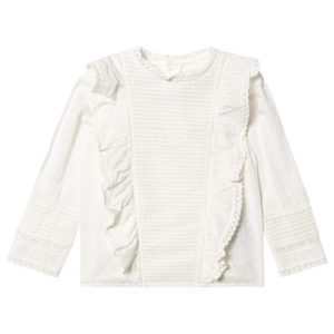 White Broderie anglaise pin tuck blouse