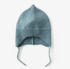 blue knitted baby bonnet