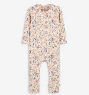 Floral print jersey sleepsuit
