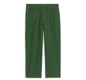 Green straight organic cotton trousers
