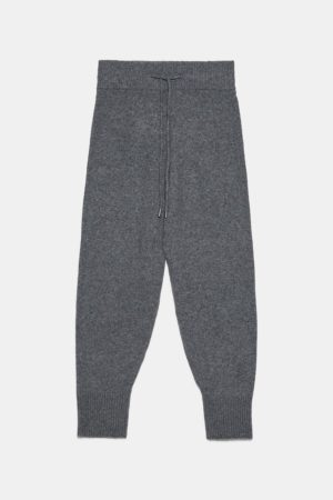 Grey knit jogging trousers