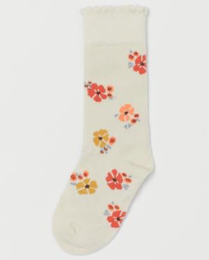 floral jacquard knee socks