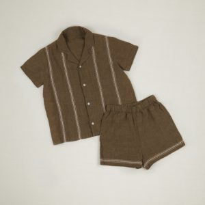 khaki linen shirt and shorts set