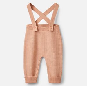 Knitted merino baby dungarees