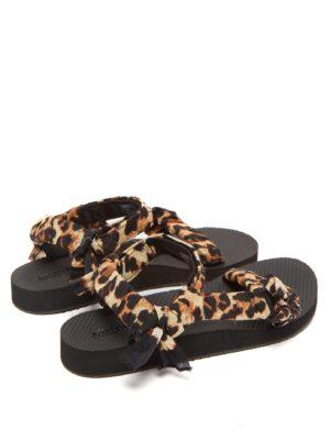 Leopard print trek sandals