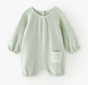 pale green waffle knit jumpsuit