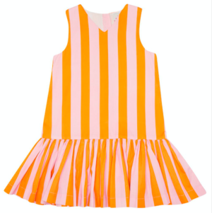 Pink and orange stripe party dress