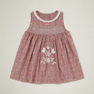 pink quilt print embroidered dress
