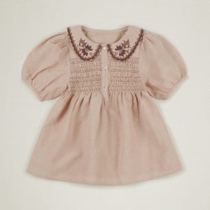 pink smocked collar blouse