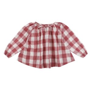 red gingham smock blouse