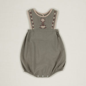sage embroidered baby romper