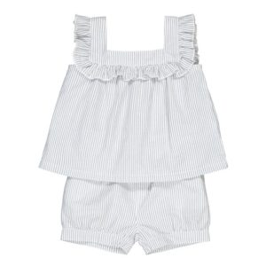 Striped cotton blouse and bloomers