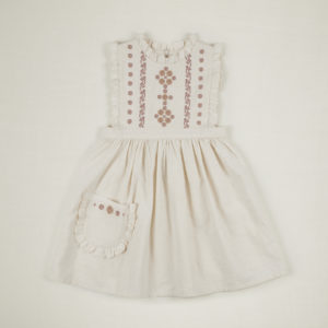 white frill embroidered dress