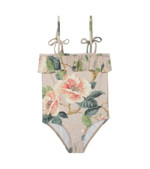 Beige floral swimsuit