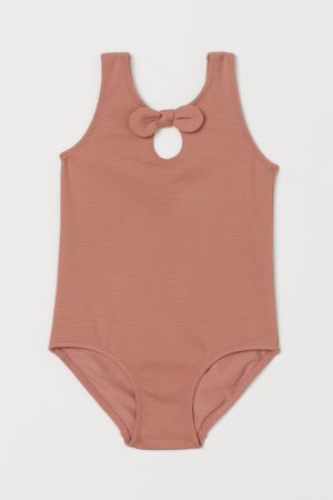 Rose textured bow swimsuit
