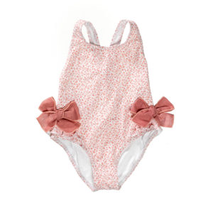 Pink flower bow swimsuit