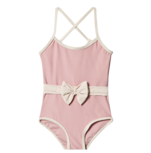 Rose belted bow swimsuit