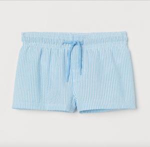 Boys blue seersucker swim shorts