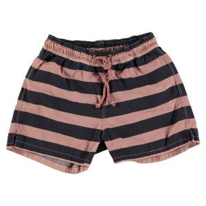 Old rose and navy striped swim shorts