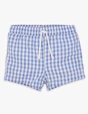 Blue gingham baby swim shorts