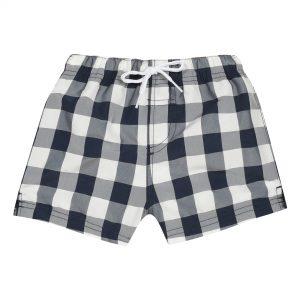 Navy check baby swim shorts
